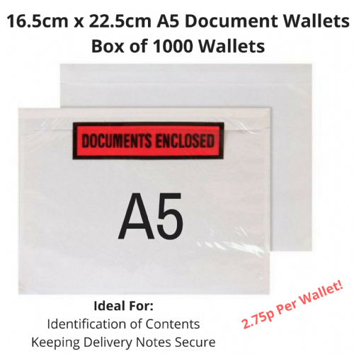 16.5cm x 22.5cm - A5 Document Wallets - Box Qty 1000 - £27.50 PER BOX